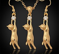 U7® Lovely 18K Gold Plated Platinum Cute Kitty Cat Pendant Earrings Rhinestone Fashion Jewelry Set Jewellery Gift