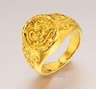 Fashion Exquisite Chinese Dragon Men 24 K Gold Ring