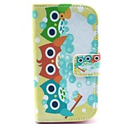 Shower Owl Pattern PU Leahter Full Body Cover with Stand and Card Slot for Samsung Galaxy Trend Plus S7580/S7562
