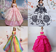 4 Pcs Barbie Doll Rome Holiday Princess Style Aestheticism Dress