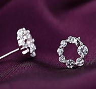Stud Earrings Women's Silver Earring Crystal