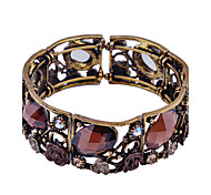 Fashion Crystal  Oval Flower Shape Cuff Bracelet