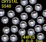 144Pcs 8.0-8.2mm White Color Glitter Flatback Crystal Rhinestone Nail Art Decoration