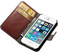 cheval fou cuir PU cas de tout le corps avec fente pour carte et Stand pour iPhone 5 / 5s (couleurs assorties)