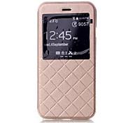 padrão de grade estojo de couro com janelas carteira para iphone 6 (cores sortidas)