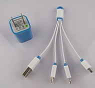 1to3 Key buckles Blue USB to Micro USB Data Charging Cable+1A Charger for Samsung S4, Note 2 and iphone others (Bundles)