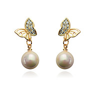 European Style Fashion Hollow Out Butterfly Pearl Alloy Drop Earrings