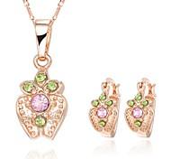 Z&X® European Style 18K Gold Plated Apple Necklace Earrings Jewelry Set (1 set)