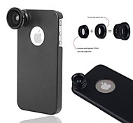 Apexel 3 in 1 Screw-in Fish Eye/ Wide Angle 0.67X / 10X Macro Lens with Back Case for iPhone 5/5S(Assorted Colors)