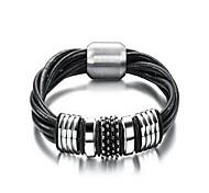 Fashion Men's Black And Silver Alloy Leather Bracelet(1 Pc)