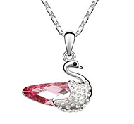 Dancing Swan Xmas Short Necklace Plated With 18K True Platinum Light Rose Crystallized Austrian Crystal Rhinestone