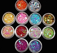 12Pcs Colors Heart Glitter Slice Tiny Nail Art Decoration