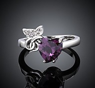 Women's Classical Purple Zircon Ring 8#(1Pc)