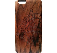 Kyuet Wooden Case Artist Made Black Walnut Laser Engraving Compass Shell Cover Skin Cell Phone Case for iPhone 6