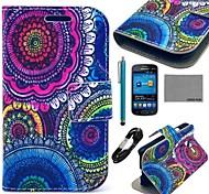 Coco fun® padrão tribal floral estojo de couro pu com filme e cabo e stylus para samsung tendência Lite 7390/7392