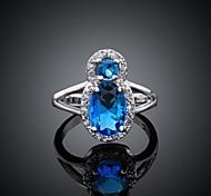 Women's Fashionable Blue Zircon Ring 8#(1Pc)