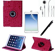 PU Leather Full Body Case with Touch Pen and Protective Film 2 Pcs and Headset for iPad Air 2/iPad 6(Assorted Colors)