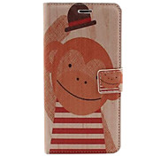 Funny Monkey Pattern PU Leather Case with Stand and Card Slot for iPhone 6 Plus