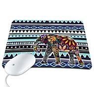 Elonbo Bohemian Fashion Stripe and Exotic Elephant PU Leather Anti-slip Mousepad Computer Mouse Pad
