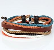 cuero pulsera de cuero colorido cáñamo marrón de los hombres cómodos ajustables (1 pieza)