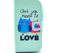 Owl You Need Love Pattern PU Leather Full Body Case with Card Slot for Samsung Galaxy Core Plus G350