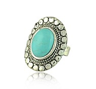 Z&X® Vintage Antique Silver Oval Kallaite Open Statement Ring