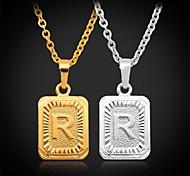 u7® bonito r letra do alfabeto direito 18k verdadeiro colar banhado a ouro pingente