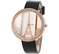 Women's Eiffel Tower Pattern Rolling Beads PU Band Quartz Wrist Watch (Assorted Colors)