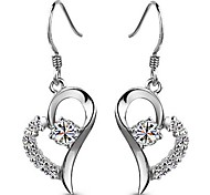 925 Sterling Silver Heart With Love Earrings
