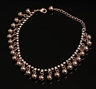 Fashion New Bell Cystal Rhinestone Rose Gold Anklets for Girls