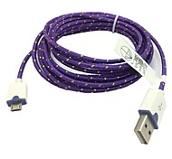 2M 6.6FT Braided Micro USB Sync Data Cable USB Charger for Samsung S2/S3/S4 HTC Sony LG All Android Phones (Purple)