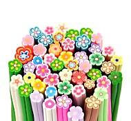 50PCS Flower Pattern 3D Cane Stick Rod Sticker Mixs Color Nail Art Decoration