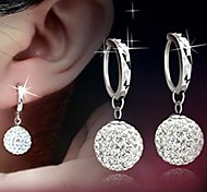Ley 925 aretes de diamante de plata Shambala con aretes de bola de la princesa