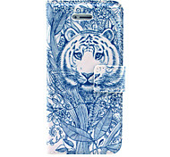 Tiger Comming Tattoo Pattern PU Leather Case Cover with Stand and Card Holder for iPhone 5/5S