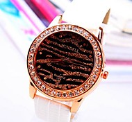 Women's Round Dial Diamond PU Band Quartz Fashion Watch (Assorted Colors)