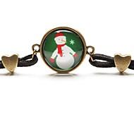 Gem de tempo a arte de vidro cabochão pulseira bonito do presente de natal boneco de neve verde (1 peça)