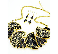 2014 Costume Latest Unique Design Black Chunky Gemstone Necklace And Earrings Jewelry Set