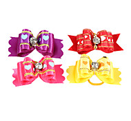 Lovely Ribbon Style Heart Pattern Rhinestone Decorated Rubber Band Hair Bow for Pet Dogs(Random Colour)