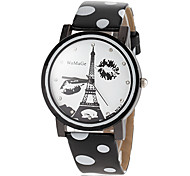Women's Eiffel Tower Pattern Dial PU Band Quartz Wrist Watch (Assorted Colors)
