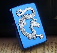 Earth Blue Dragon Universal Pattern Metal Relief Oil Lighter  Style Random