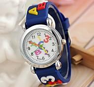 Kinderbuchstabe-Muster Silikonband-Quarzarmbanduhr blau (1pc)