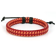 Comfortable Adjustable Women's Leather Cool Hard Bracelet Red Orange Braided Leather(1 Piece)