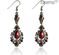 Lureme®Vintage Antique Silver Pendant Earrings(Red)