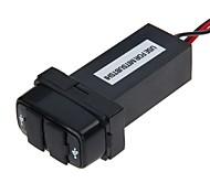 12V 2.1A Dual USB Port Power Socket Mobile GPS Car Charger for MITSUBISHI (Black)