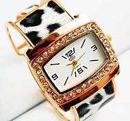 mostrador redondo das mulheres ouro rosa aros pulseira quartzo banda liga relógio (cores sortidas)