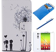 Couples Dandelion Pattern PU Leather Full Body Case with Stylus、Protective Film and Soft Pouch for LG G2/D802