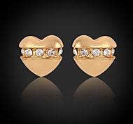 u7® girls'small corazones románticos oro 18k plateó los pendientes del Rhinestone austríaco