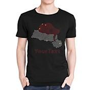 Personalized Rhinestone T-shirts Christmas Hat Pattern Men's Cotton Short Sleeves