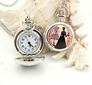 Personalized Lady Pattern Pocket Watch Silver Enamel Metal Lanyards