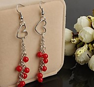 Fashion Red Pepper Tassels Silver Alloy Drop Earrings(1pair)